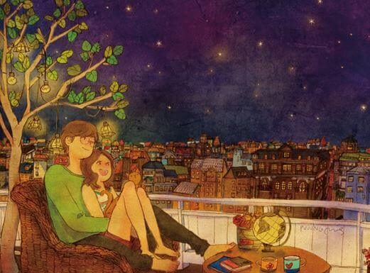 Pareja mirando las estrellas