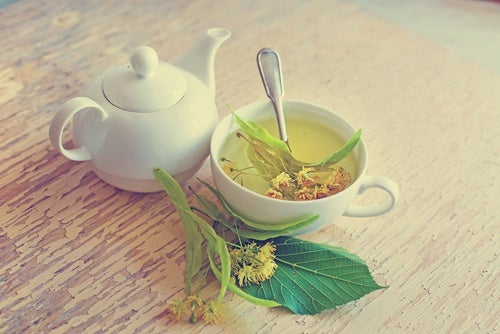 A cup of linden flower infusion