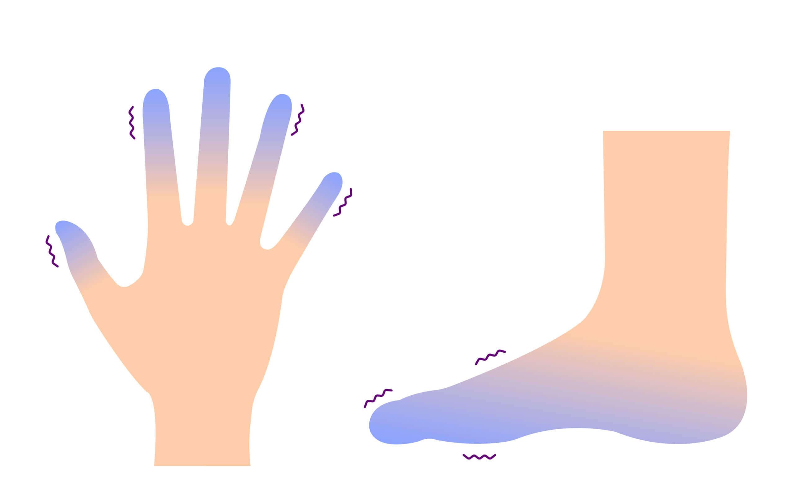 Manos y pies fríos: un posible signo de mala circulación.