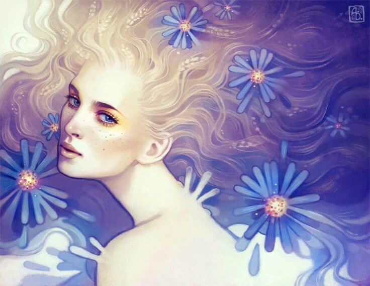 mujer con margaritas azules en el cabello