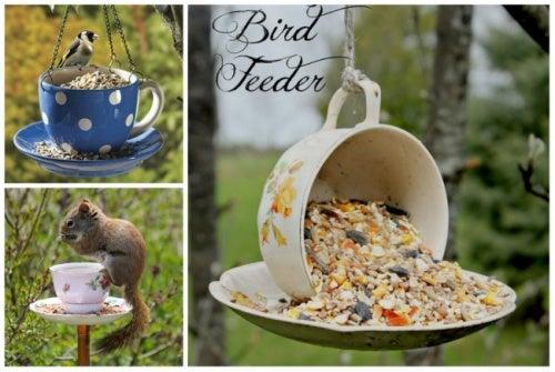 Comedero para aves hecho con platos viejos