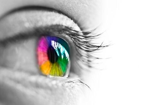ojo con colores del arcoíris