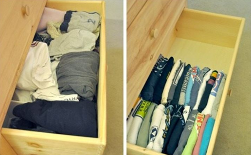 A way to keep your house organized is by storing your shirts vertically in your drawers