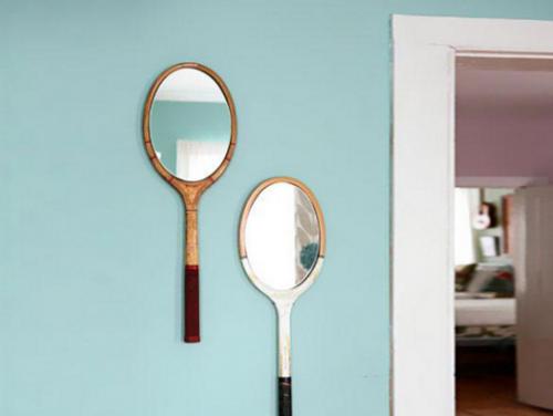 Espejos decorativos hechos con raquetas