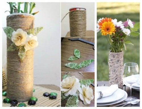 florero para reciclar los envases