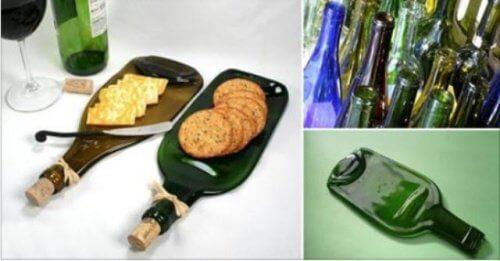 Cómo hacer con una botella de vidrio una original tabla para snacks