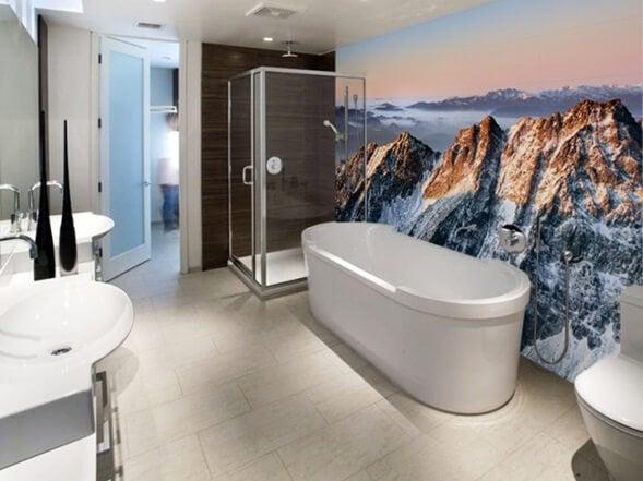 Baño con decoración minimalista