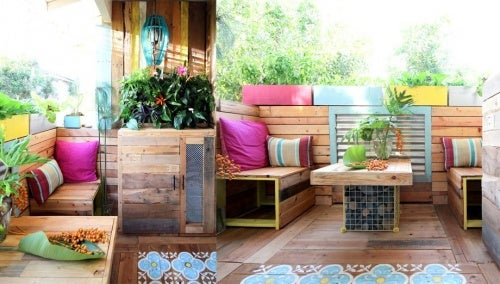 Terraza con palés