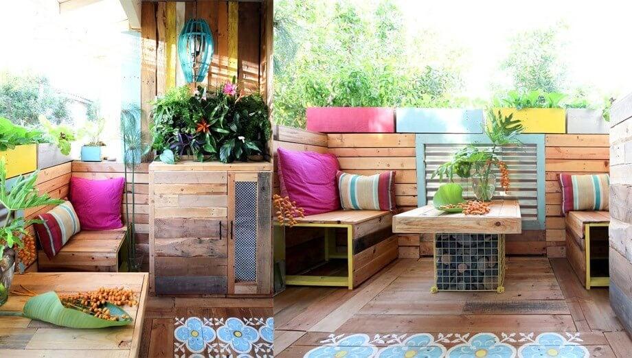 Terraza con palees.