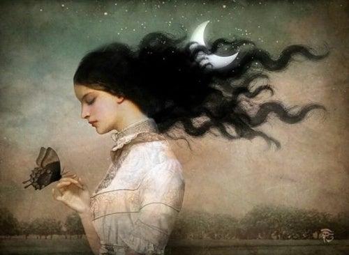 Ilustración de mujer con mariposa en la mano como símbolo del desapego