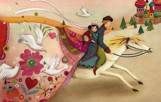 Cuadro de pareja a caballo