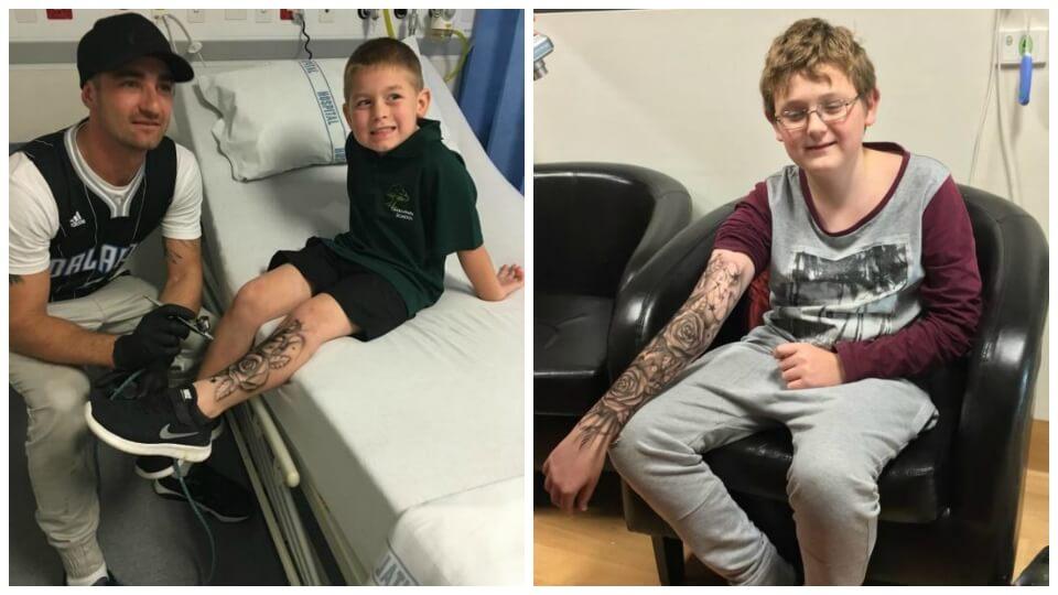 El hombre que realiza «tatuajes temporales» a niños enfermos para darles fortaleza