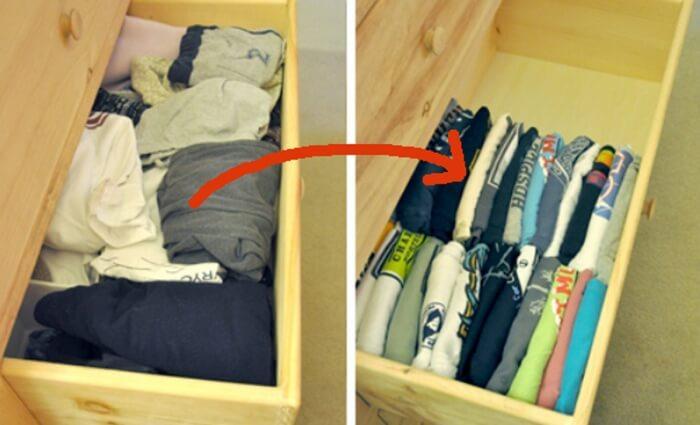 Es posible acomodar la ropa de manera que ocupe menos espacio.