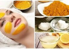 Mascarilla de cúrcuma, aceite de coco y limón