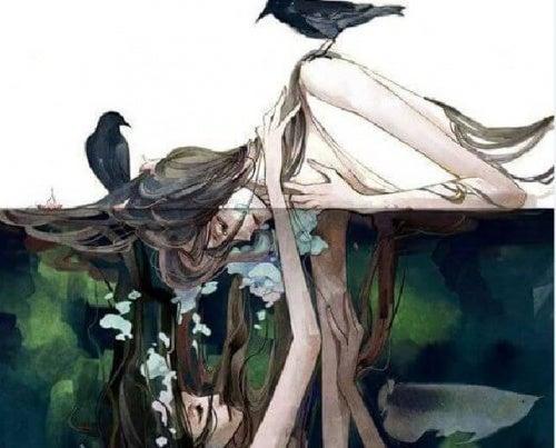 mujer-ahogandose-con-su-reflejo
