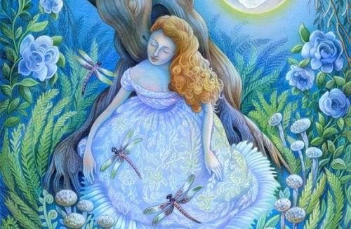 mujer con libélulas feliz por no sentirse culpable