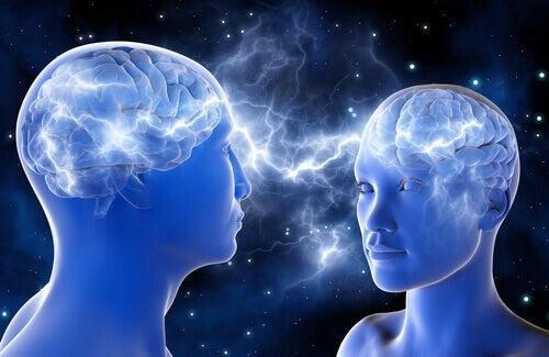 Dos personas conectadas mentalmente para representar la atracción