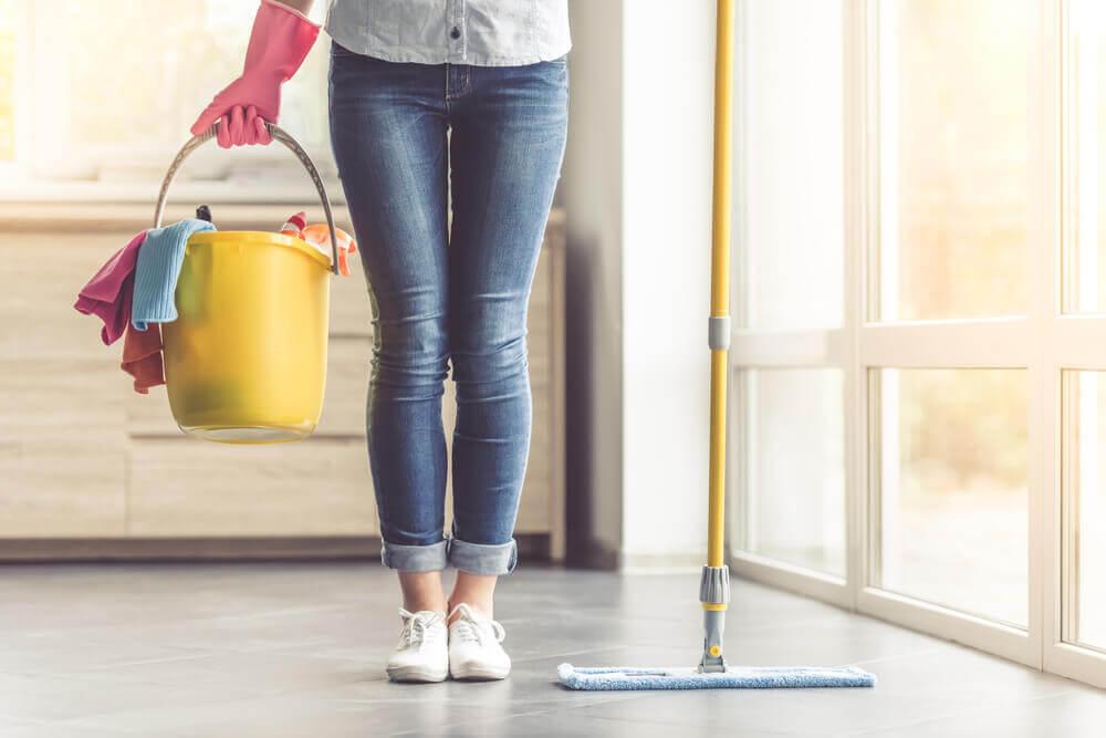 Mujer con elementos de limpieza