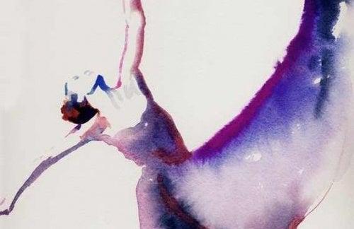 Pintura de mujer bailando representando su fortaleza