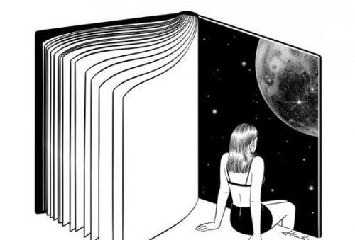 Libro abierto en cuya página aparece una mujer sentada mirando al universo