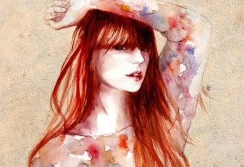 mujer pelo rojo que acepta sus defectos