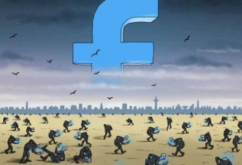 People visiting Facebook on a depressing landscape