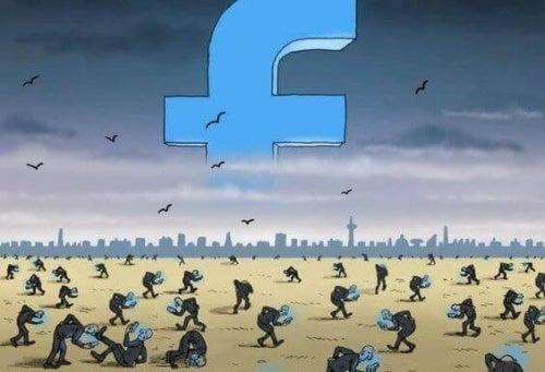 Personas consultando el facebook en un panorama desolador