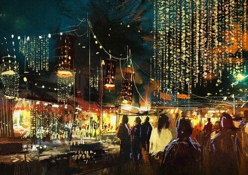 Muchas-personas-de-diferentes-culturas-en-ciudad-por-la-noche