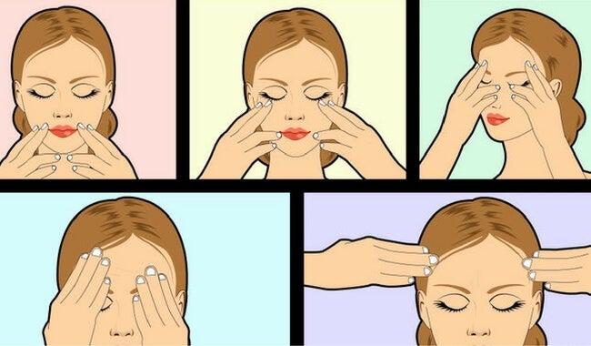 Puntos faciales para masajear y estimular el organismo