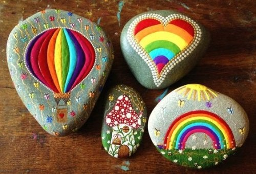 Piedras pintadas como símbolos de fortalezas