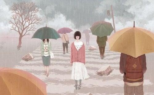 Mujer sola entre la autocompasión