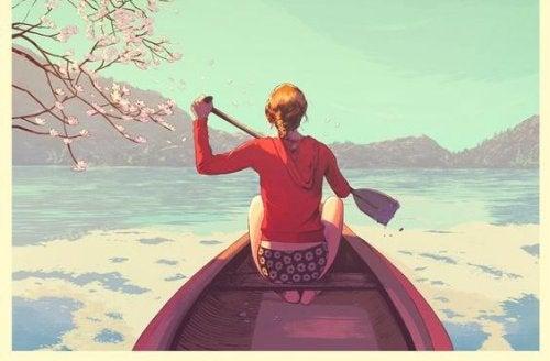 mujer en barca