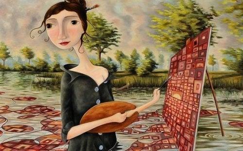 mujer pintando feliz con su dignidad