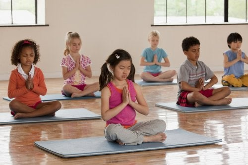 Children practicing mindfulness.