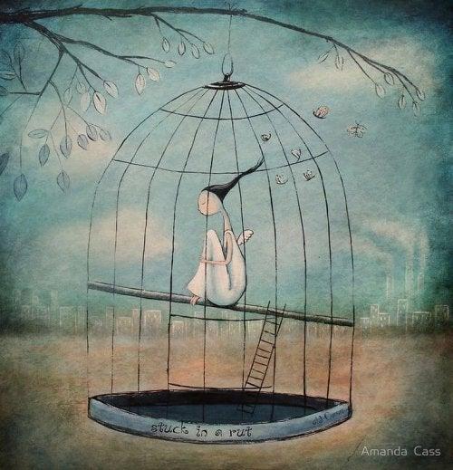 Mujer-atrapada-en-una-jaula