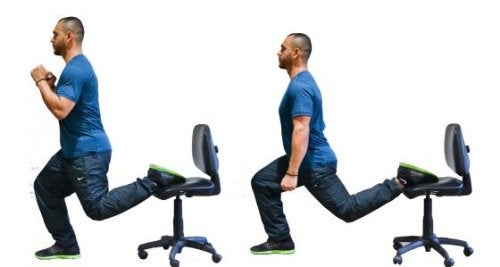 Man doing lunges in a chair