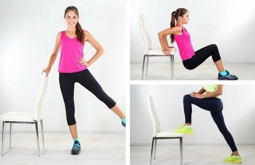 6 ejercicios que puedes hacer con una silla para reducir los michelines