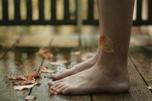 pies-mojados-con-hojas-pegadas