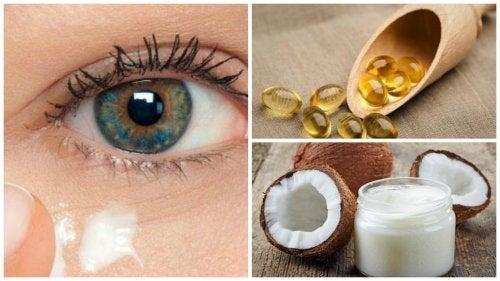 Crema natural con aceite de coco para rejuvenecer el contorno de los ojos