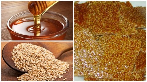 Snack de miel y semillas de sésamo casero y saludable