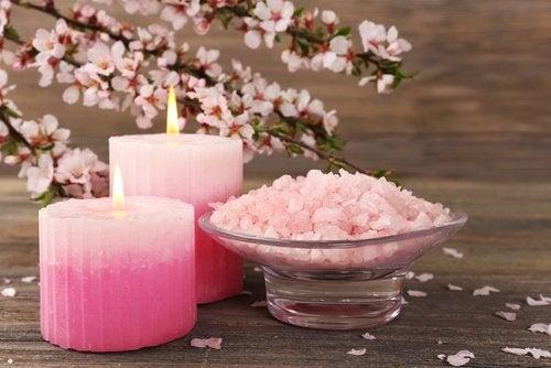 Receta de sales de baño de rosas