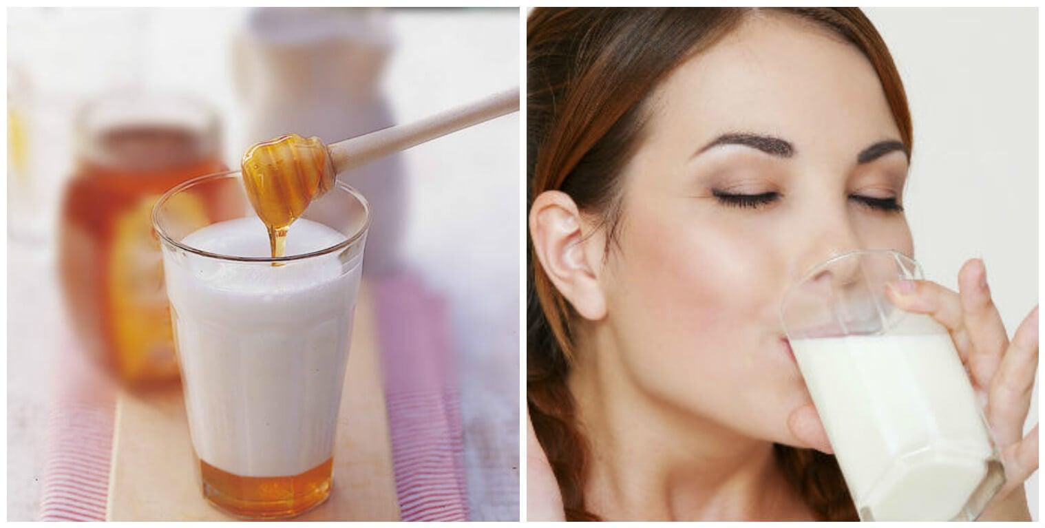 Vaso de leche con miel