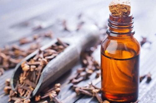 A bottle of clove essential oil.