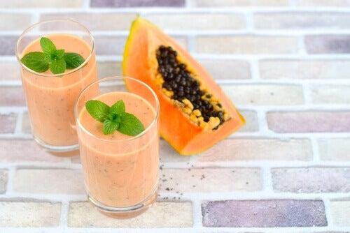 Licuado natural de papaya