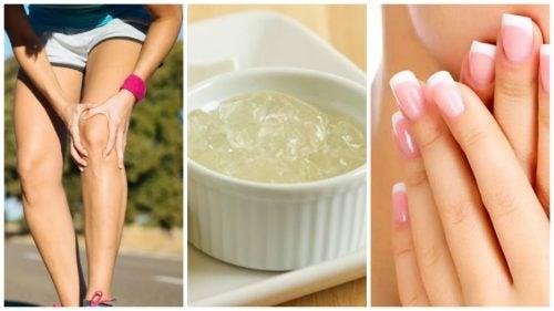 3 imágenes: rodilla, gelatina y manos.
