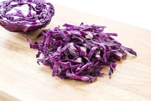 Some chopped red cabbage.