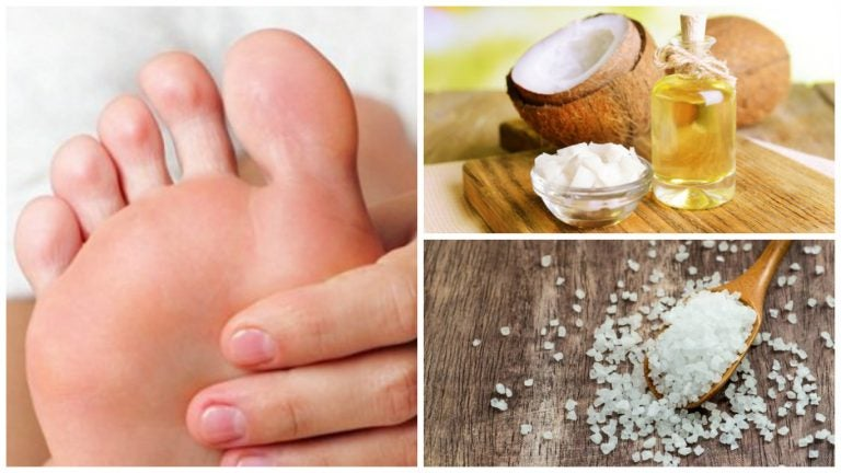 Cómo preparar un exfoliante de aceite de coco y sal para remover los callos de los pies
