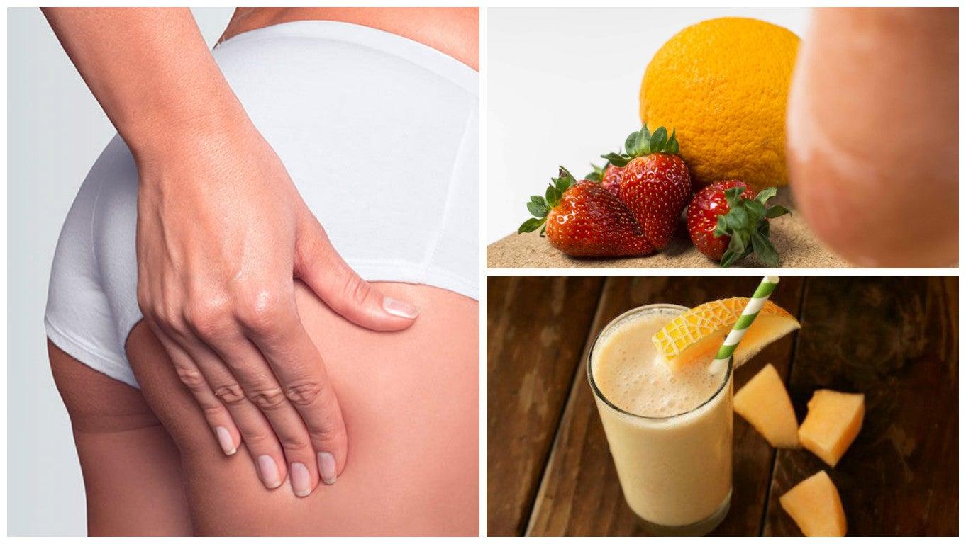 Licuado natural de melón, papaya y fresa para disminuir la celulitis