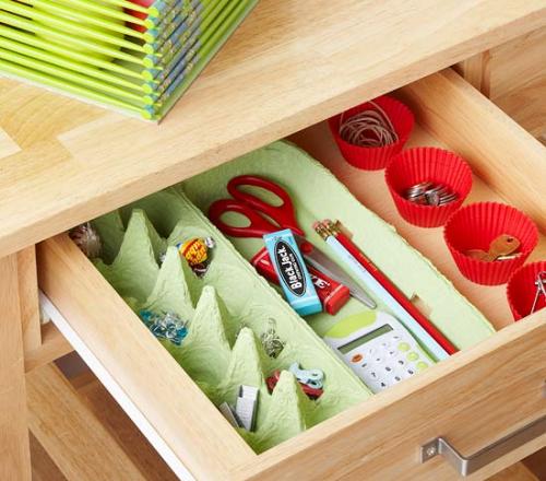 Using an egg carton to keep your house organized