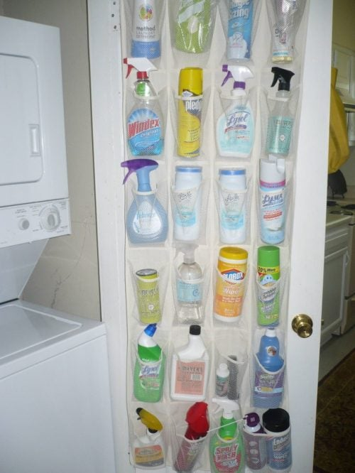 Using a shoe organizer to store cleaning products